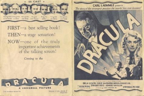 Dracula (1931 Tod Browning) advertisement. Bela Lugosi, Helen Chandler