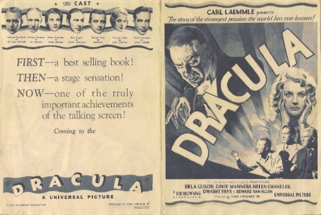 Dracula (1931 Tod Browning) advertisement. Bela Lugosi, Helen Chandler