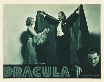 Dracula (1931 Tod Browning) lobby card. Bela Lugosi, Helen Chandler (reissue)