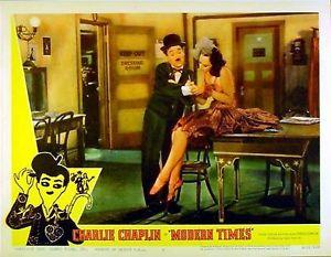 Charlie Chaplin Modern Times lobby card. Paulette Goddard