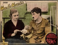 Charlie Chaplin Shoulder Arms (1918) lobby card. Edna Purviance