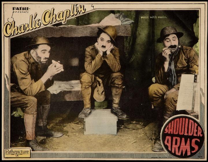 Charlie Chaplin Shoulder Arms (1918) lobby card.