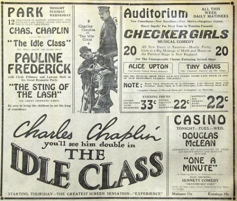 Charlie Chaplin The Idle Class news ad
