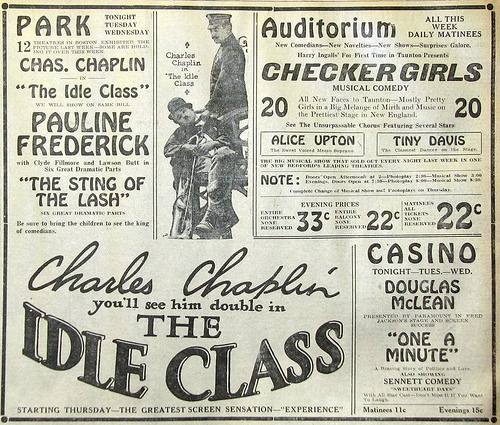 Charlie Chaplin The Idle Class news ad