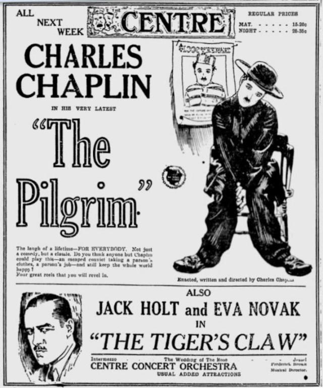 Charlie Chaplin The Pilgrim (1923) advertisement