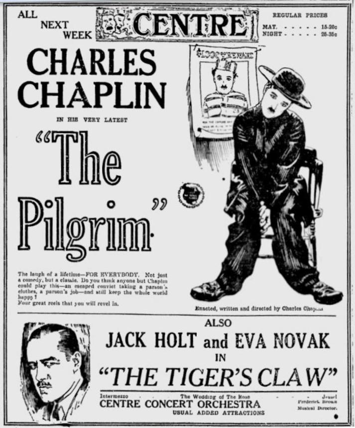 Charlie Chaplin The Pilgrim (1923) advertisement