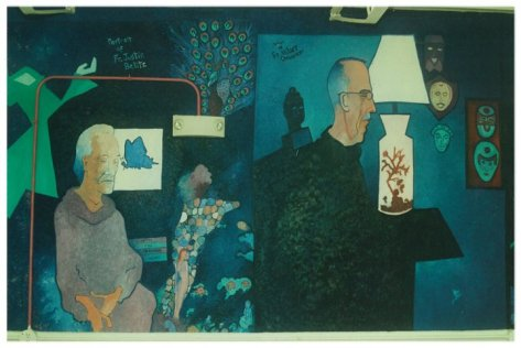 Alfred Eaker %22Modern Spirituality%22 mural St. Vincent de Paul. Detail Fr. Hilary Ottensmeyer, Fr. Justin Belitz