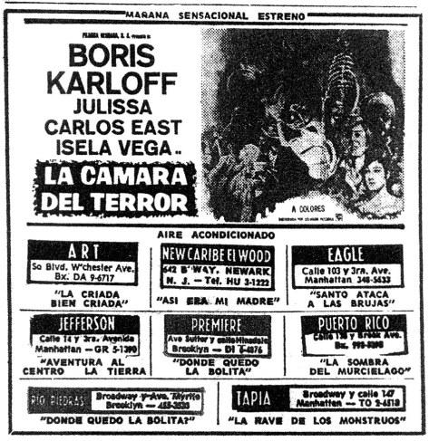 FEAR CHAMBER BORIS KARLOFF MOVIE AD