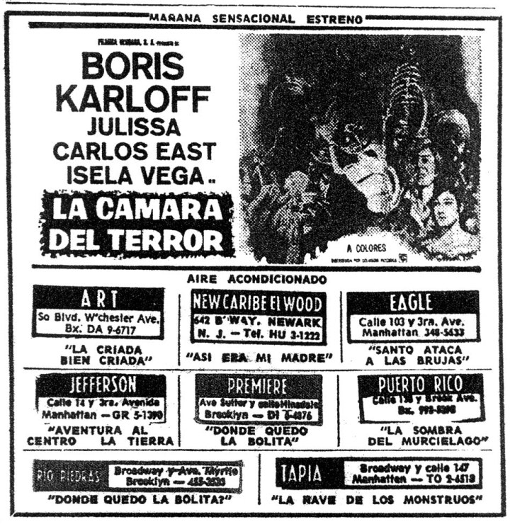 FEAR CHAMBER BORIS KARLOFF MOVIE AD