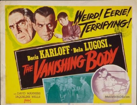 The Black Cat (1934 Edgar G. Ulmer) lobby card aka %22The Vanishing Body%22. Bela Lugosi, Boris Karloff