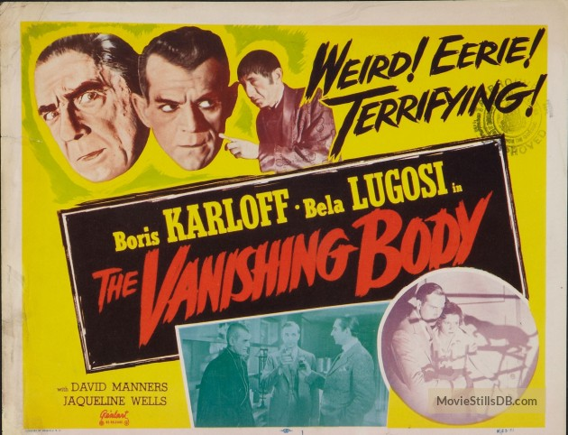 The Black Cat (1934 Edgar G. Ulmer) lobby card aka %22The Vanishing Body%22. Bela Lugosi, Boris Karloff