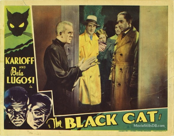 The Black Cat (1934 Edgar G. Ulmer) lobby card. Boris Karloff, David Manners, Bela Lugosi