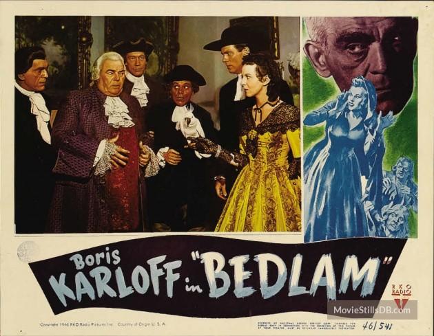 BEDLAM (1946) LOBBY CARD. BORIS KARLOFF