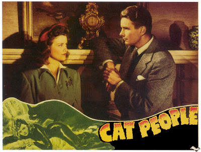 CAT PEOPLE (1942) lobby card. Simone Simon