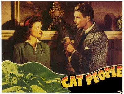 CAT PEOPLE (1942) lobby card. Simone Simon