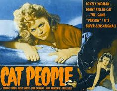 CAT PEOPLE 1942 lobby card. Simone Simon