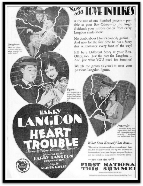 HEART TROUBLE 1928 AD (LOST HARRY LANGDON FILM)