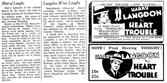 HEART TROUBLE 1928 NEWS AD (LOST HARRY LANGDON FILM)