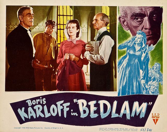 BEDLAM LOBBY CARD. KARLOFF