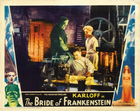 BRIDE OF FRANKENSTEIN (1933, JAMES WHALE) KARLOFF, THESIGER, CLIVE. LOBBY CARD