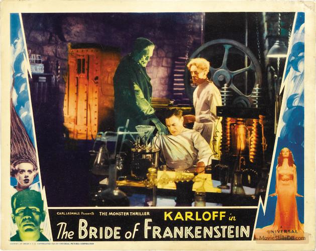BRIDE OF FRANKENSTEIN (1933, JAMES WHALE) KARLOFF, THESIGER, CLIVE. LOBBY CARD