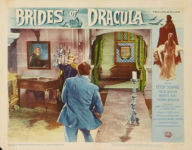 BRIDES OF DRACULA lobby card 1960. Peter Cushing, David Peel (Terence Fisher, dir)