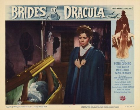 BRIDES OF DRACULA Peter Cushing, Freida Jackson. lobby card