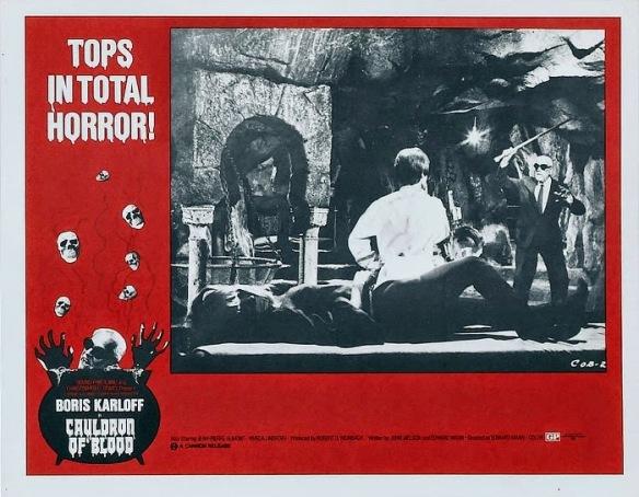 Cauldron Of Blood lobby card. Boris Karloff
