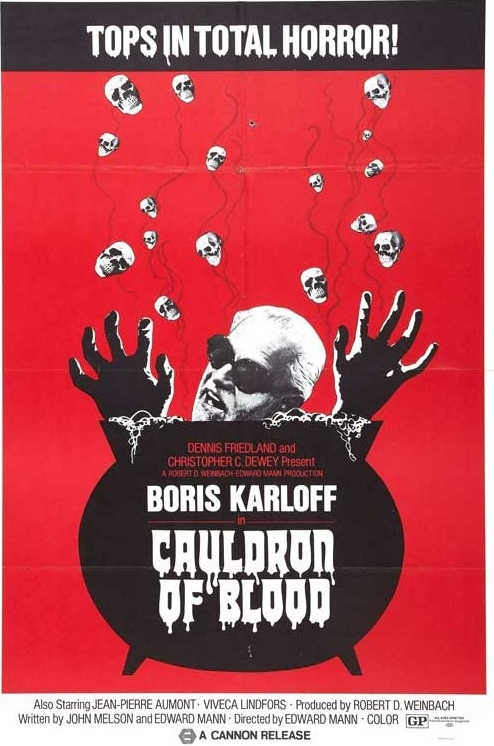 CAULDRON OF BLOOD POSTER. BORIS KARLOFF