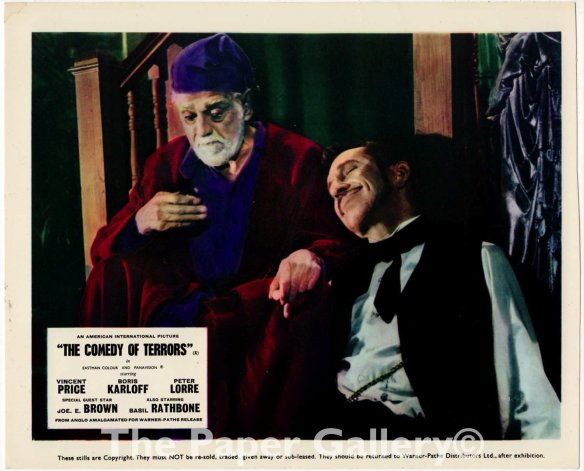COMEDY OF TERRORS LOBBY CARD. KARLOFF AND PRICE