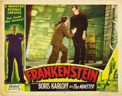 Frankenstein (1931 dir. James Whale) Colin Clive, Boris Karloff. lobby card