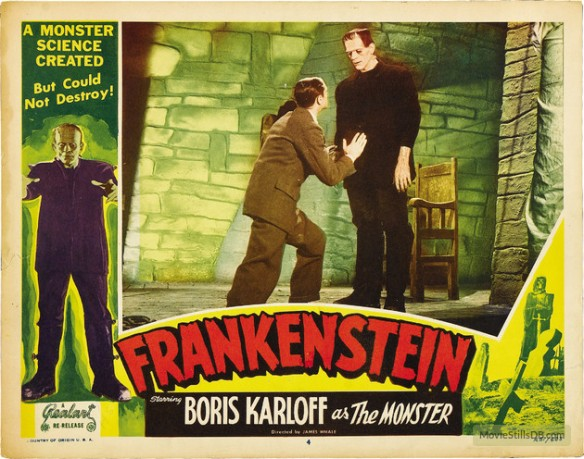 Frankenstein (1931 dir. James Whale) Colin Clive, Boris Karloff. lobby card