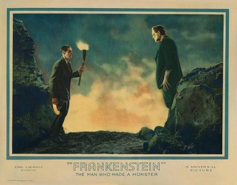 Frankenstein (1931) lobby card. Colin Clive, Boris Karloff