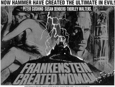 FRANKENSTEIN CREATED WOMAN (Terence Fisher) Peter Cushing . poster