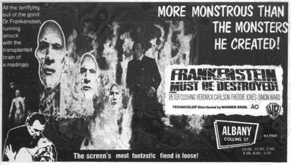 FRANKENSTEIN MUST BE DESTROYED news ad