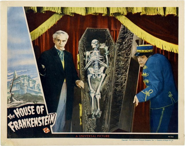 HOUSE OF FRANKENSTEIN LOBBY CARD. KARLOFF AND NAISH