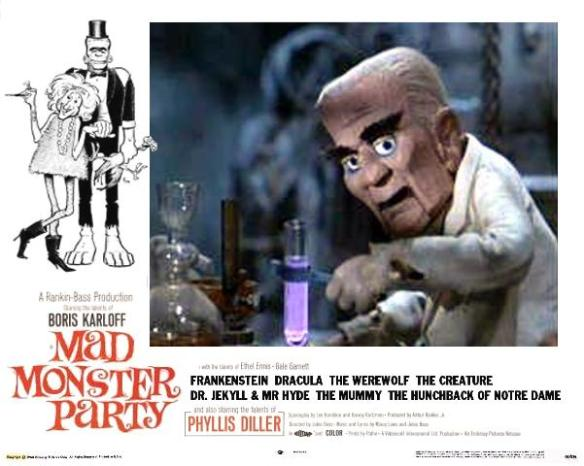 MAD MONSTER PARTY LOBBY CARD. KARLOFF