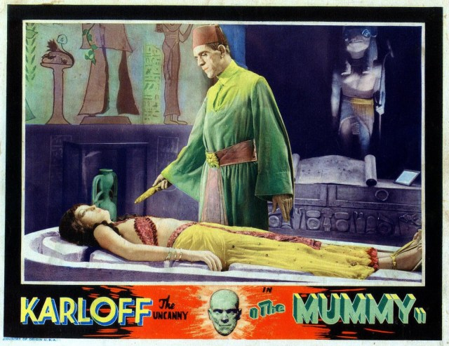 MUMMY 1932 LOBBY CARD. KARLOFF AND JOHANN