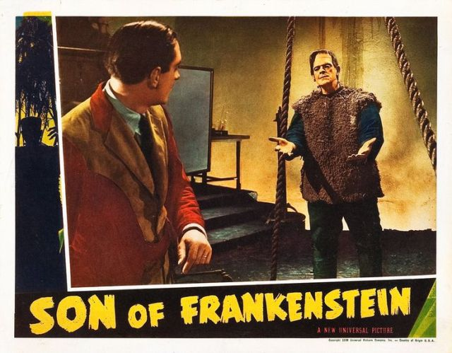 SON OF FRANKENSTEIN LOBBY CARD. KARLOFF AND RATHBONE