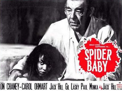SPIDER BABY LOBBY CARD, LON CHANEY