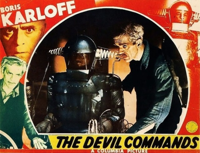 THE DEVIL COMMANDS LOBBY CARD. KARLOFF