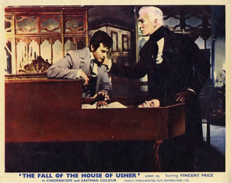 THE FALL OF THE HOUSE OF USHER Starring Vincent Price. lobby card.