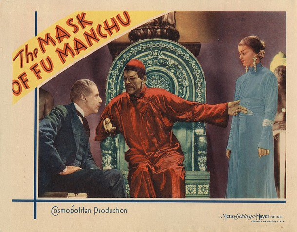 The Mask of Fu Manchu (1932) lobby card. Boris Karloff, Myrna Loy