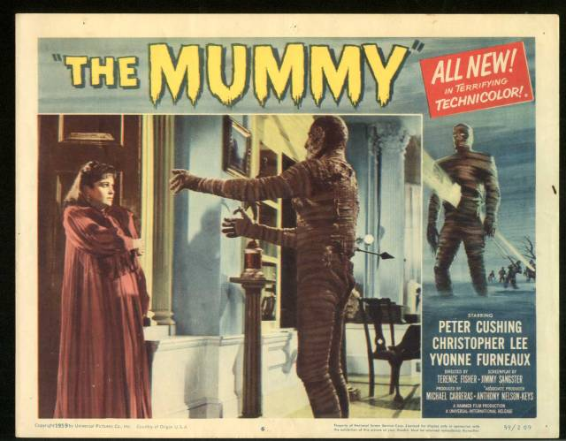 The Mummy (1959. Terence Fisher) Christopher Lee, Yvonne Furneaux. lobby card