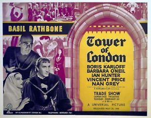 TOWER OF LONDON LOBBY CARD. KARLOFF AND RATHBONE