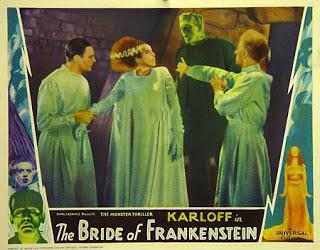 BRIDE OF FRANKENSTEIN (1935 (1935) LOBBY CARD. COLIN CLIVE, ELSA LANCHESTER, BORIS KARLOFF, ERNEST THESIGER