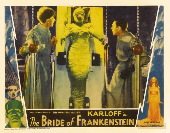 BRIDE OF FRANKENSTEIN (1935 (1935) LOBBY CARD. ERNEST THESIGER, ELSA LANCHESTER, COLIN CLIVE