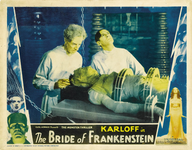 BRIDE OF FRANKENSTEIN (1935N (1935) LOBBY CARD. THESIGER, LANCHESTER, CLIVE