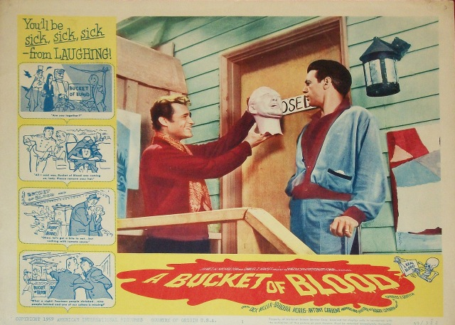 BUCKET OF BLOOD lobby card Dick Miller