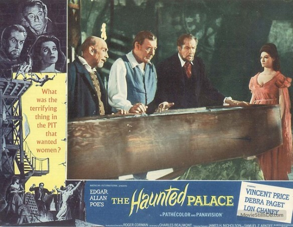 HAUNTED PALACE lobby card. Lon Chaney, Jr, Vincent Price, Debra Paget
